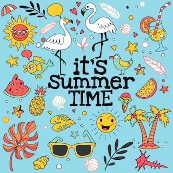 Set van zomer doodle op