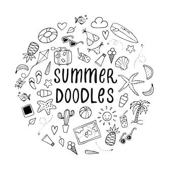 Set van zomer doodles