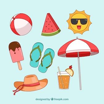 Set van zomer elementen in hand getrokken stijl