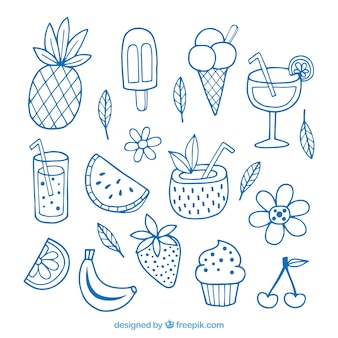 Set van zomer elementen met fruit en dranken in hand getrokken stijl