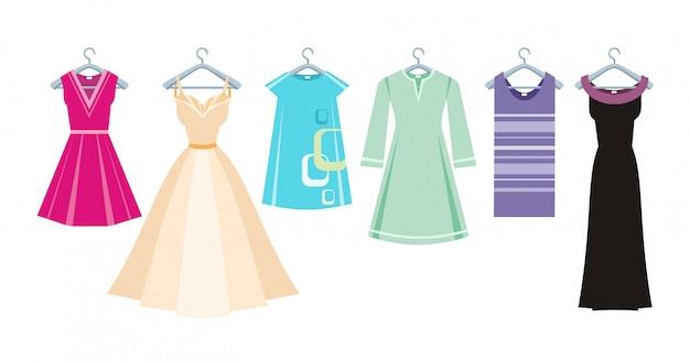 Set van zomer en herfst jurken kleding voor kantoor