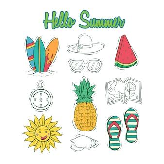 Set van zomer iconen collectie met gekleurde hand getrokken stijl