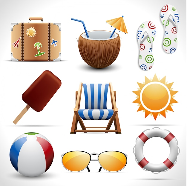 Set van zomer iconen
