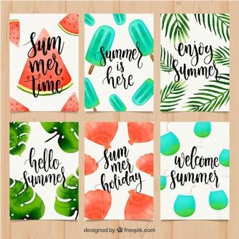 Set van zomer kaarten met aquarel textuur