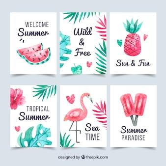 Set van zomer kaarten met elementen van het strand