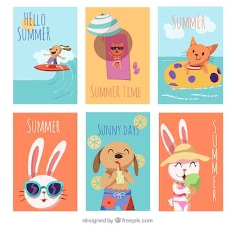 Set van zomer kaarten met schattige dieren