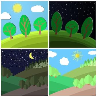 Set van zomer landschap. dag en nacht op een open plek in het bos. cartoon vectorillustratie.