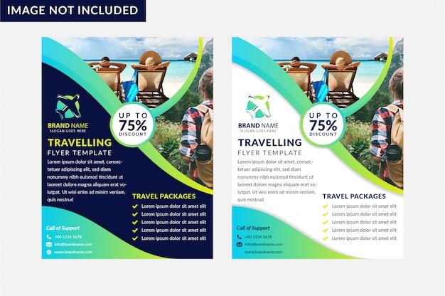 Set van zomer reizen flyer