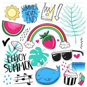 Set van zomer schattig doodle op papier achtergrond