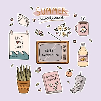 Set van zomer schattig elementen moodboard