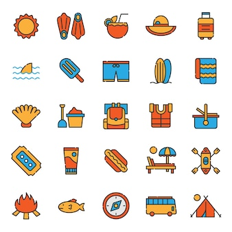 Set van zomer vakantie feest icoon