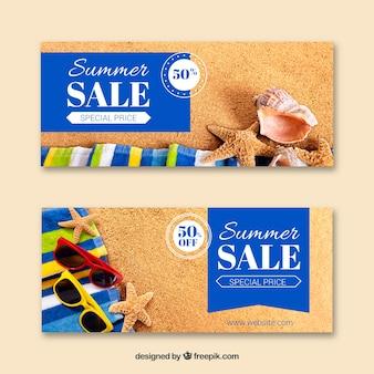Set van zomer verkoop banners met fotografie
