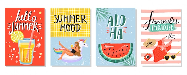 Set van zomer wenskaarten