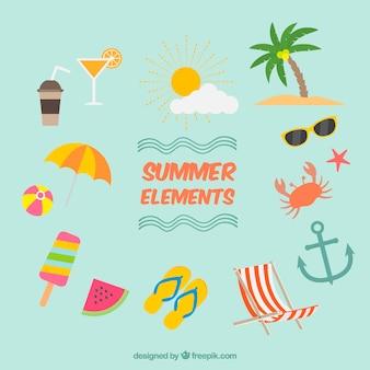 Set van zomerelementen in vlakke vormgeving