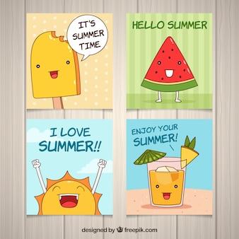 Set van zomerkaarten met leuke cartoons