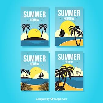 Set van zomerkaarten met uitzicht op het strand