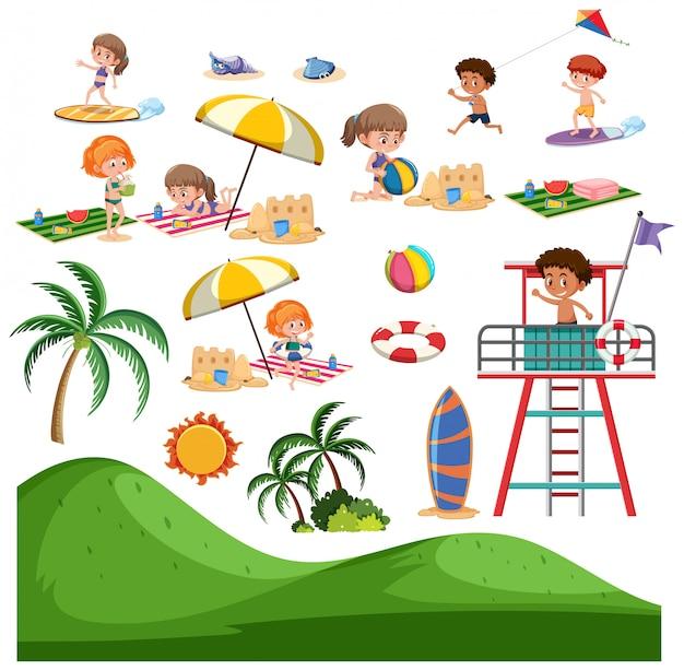 Set van zomerstrandactiviteiten