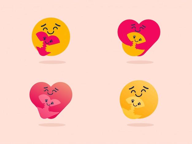 Set van zorg emoji-variatie