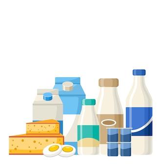 Set van zuivelproducten. melk, yoghurt, kaas, room