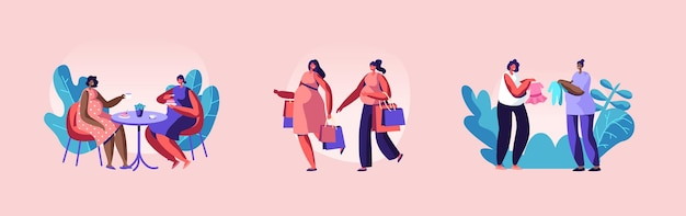 Set van zwangere vrouwen tekens vrije tijd. meisjes winkelen, café bezoeken, dingen kopen voor baby's, vrienden ontmoeten. gewenste zwangerschap, moederschap... ouderschapsconcept. cartoon mensen vectorillustratie