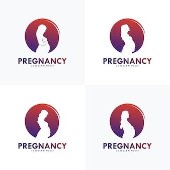 Set van zwangerschap logo vector ontwerpsjabloon