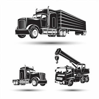 Set van zware bouwmachines, graafmachine en bulldozer, vrachtwagen en autokraan, zwart-wit iconen van machines,