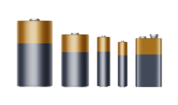 Set van zwart geel gouden glanzende alkaline batterijen van verschillende grootte aaa, aa, c, d, pp3 en 9 volt batterij voor branding close-up geïsoleerd op witte achtergrond