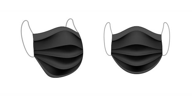 Set van zwart medisch masker voor bescherming tegen coronavirus covid-19. ter bescherming tegen infectie, virussen, bacteriën en microben of vervuilde lucht.