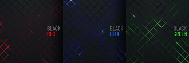 Set van zwart vierkant patroon op gloeiende rode blauwe groene neon abstracte achtergrond in technologiestijl