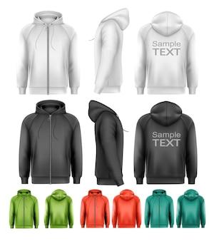 Set van zwart-wit en kleurrijke mannelijke hoodies met rits. vector