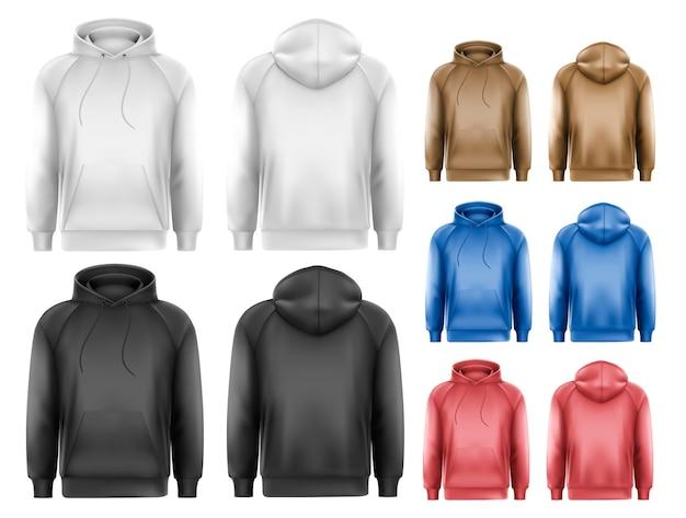 Set van zwart-wit en kleurrijke mannelijke hoodies met voorbeeldtekstruimte.