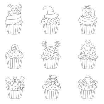Set van zwart-wit halloween cupcakes. kleurplaat voor kinderen.