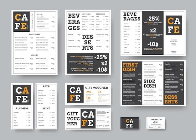 Set van zwart-wit menu voor restaurant met oranje designelementen