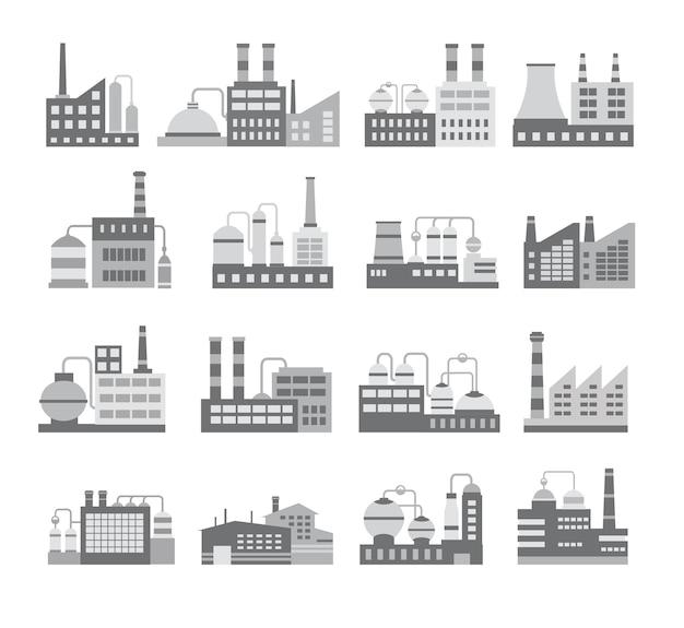 Set van zwart-wit vector industriële gebouwen. ketel gebouw. kracht opbouwen. magazijnen gebouw. fabrieken bouwen. het onderstationgebouw. gebouwen stedelijke en industriële gebouwen.