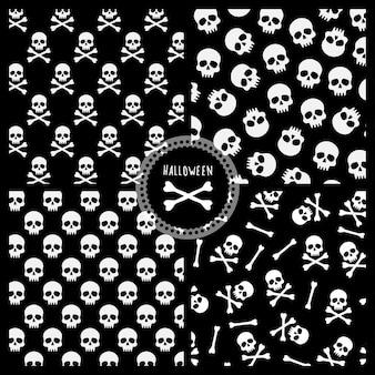 Set van zwart-wit vector naadloos patroon voor halloween vier patronen met schedels
