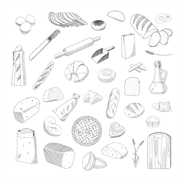 Set van zwart-wit vectorillustraties van brood in schetsstijl