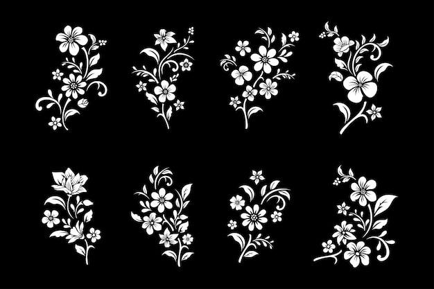 Set van zwart-witte bloemen snijden