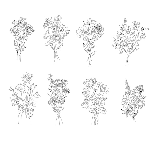 Set van zwart-witte bloemenbos