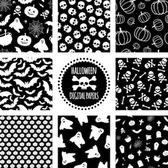 Set van zwart-witte halloween-patronen vector naadloos patroon voor halloween