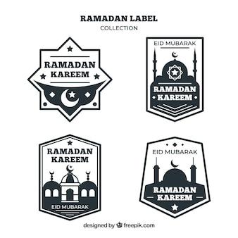 Set van zwart-witte ramadan badges