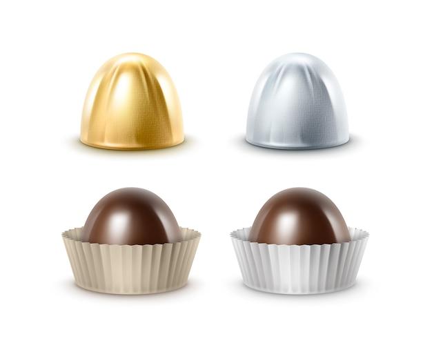 Set van zwarte bittere chocoladesuikergoed in folie