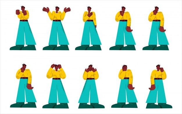 Set van zwarte casual man toont verschillende emotie en vormt grote ledematen stijl