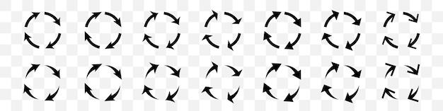 Set van zwarte cirkel pijlen op transparante achtergrond