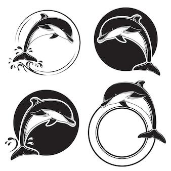 Set van zwarte dolfijn pictogrammen
