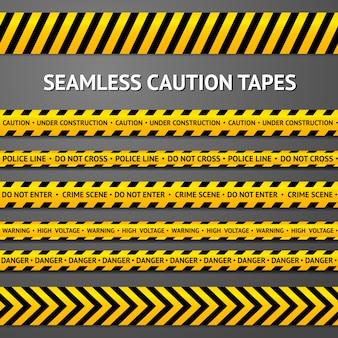 Set van zwarte en gele naadloze voorzichtigheidsbanden met verschillende tekens. politie lijn, plaats delict, hoogspanning, niet kruisen, in aanbouw etc.