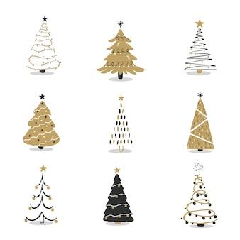 Set van zwarte en gouden kerstboom-iconen. xmas-symbool, eenvoudige pictogramverzameling. winter seizoen ontwerpelement. nieuwjaar silhouet teken. illustratie in vlakke stijl.