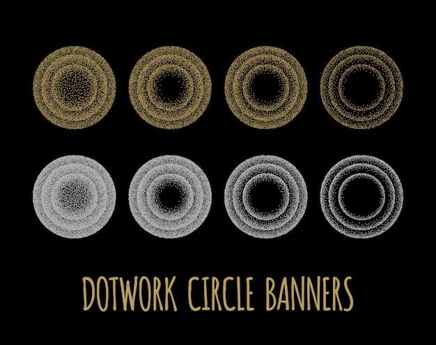 Set van zwarte en witte korrelige cirkels