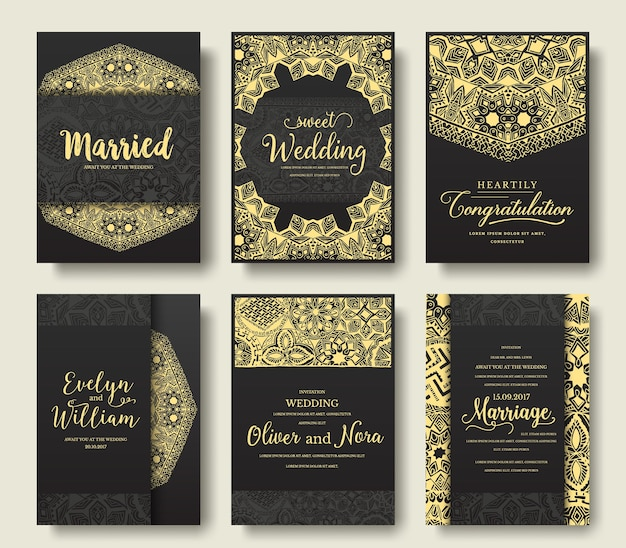 Set van zwarte flyer pagina's ornament.