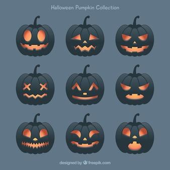 Set van zwarte halloween pompoenen