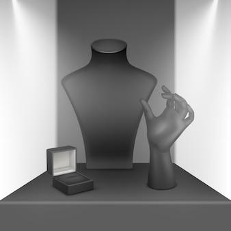 Set van zwarte ketting, armband en ringstandaard